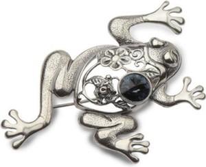Polcarat Design Broszka srebrna ŻABA z kryształem Swarovskiego B 152