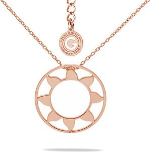 GIORRE SREBRNY NASZYJNIK SŁOŃCE 925 : Kolor pokrycia srebra - Pokrycie Różowym 18K Złotem