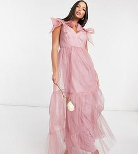Sukienka Asos z tiulu z krótkim rękawem