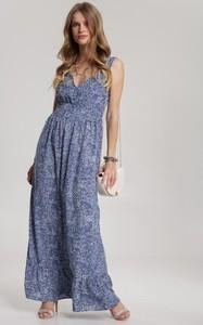 Niebieska sukienka Renee z dekoltem w kształcie litery v maxi bez rękawów