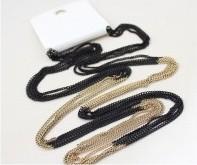 Alice Jo Czarno złoty długi naszyjnik z łańcuszków