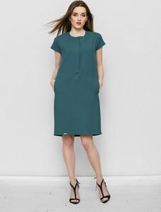 Zielona sukienka Freeshion z krótkim rękawem oversize midi