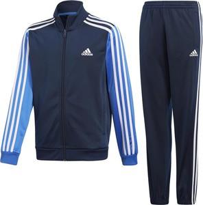 Niebieski dres dziecięcy Adidas w paseczki z dzianiny