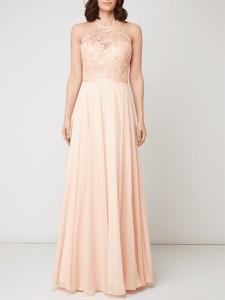 Sukienka Luxuar z okrągłym dekoltem z satyny