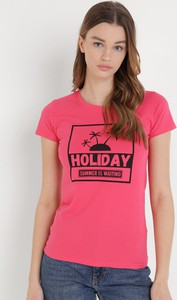 T-shirt born2be z okrągłym dekoltem z bawełny w młodzieżowym stylu