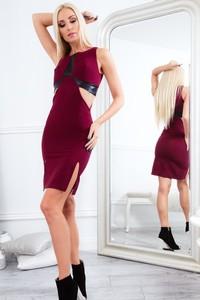 Sukienka Fasardi bez rękawów ze skóry ekologicznej dopasowana