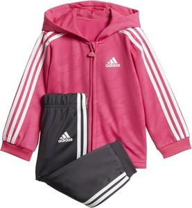 Różowy dres dziecięcy Adidas Performance dla dziewczynek z dzianiny