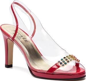 Sandały Azurée ze skóry na średnim obcasie w stylu glamour