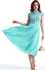 Sukienka POTIS & VERSO z tkaniny z kołnierzykiem rozkloszowana