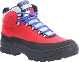 Buty trekkingowe Tommy Jeans ze skóry z płaską podeszwą sznurowane