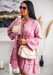 Sukienka Fason mini z bawełny z długim rękawem