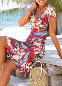 Sukienka Sandbella w stylu boho mini z krótkim rękawem