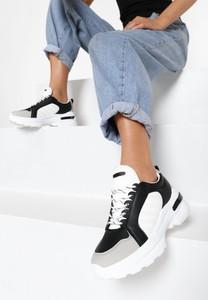 Sneakersy born2be sznurowane z płaską podeszwą