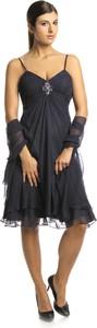 Granatowa sukienka Fokus midi rozkloszowana