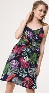 Sukienka born2be z dekoltem w kształcie litery v mini trapezowa