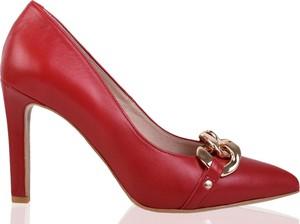 Czerwone szpilki lizard-shoes.com na szpilce
