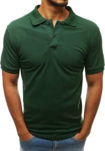 Zielona koszulka polo Dstreet z bawełny w stylu casual z krótkim rękawem