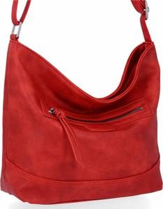Czerwona torebka Herisson na ramię lakierowana ze skóry ekologicznej