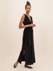 Czarna sukienka MaxMara Leisure maxi na ramiączkach prosta