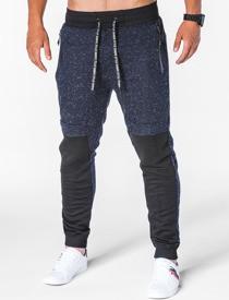 Granatowe spodnie sportowe Ombre Clothing w street stylu z bawełny