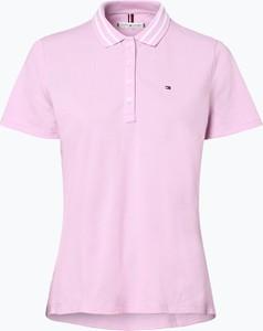 Różowy t-shirt Tommy Hilfiger z kołnierzykiem