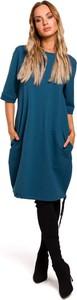 Niebieska sukienka MOE bombka w stylu casual z bawełny