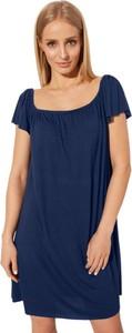 Niebieska sukienka CAHA hiszpanka z krótkim rękawem z tkaniny