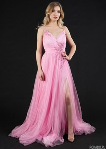 Różowa sukienka Rokado z tiulu maxi