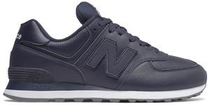 Granatowe buty sportowe New Balance sznurowane ze skóry 574