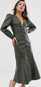 Zielona sukienka Asos Design ze skóry z długim rękawem