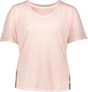 Różowy t-shirt Mavi z krótkim rękawem w stylu casual z bawełny