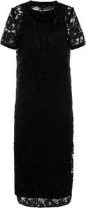 Czarna sukienka My Twin z okrągłym dekoltem z krótkim rękawem midi