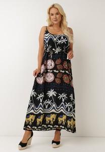 Czarna sukienka born2be trapezowa z dekoltem w kształcie litery v