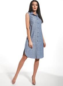 Niebieska sukienka Ennywear bez rękawów z lnu w stylu casual