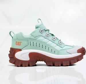 Zielone buty sportowe Caterpillar na platformie sznurowane