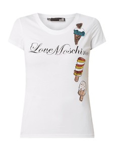 Bluzka Love Moschino z okrągłym dekoltem z krótkim rękawem