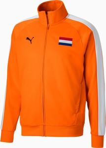 Pomarańczowa kurtka Puma krótka z dresówki w sportowym stylu