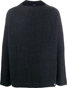 Niebieski sweter Emporio Armani z okrągłym dekoltem
