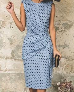 Niebieska sukienka Kendallme z okrągłym dekoltem midi ołówkowa