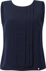 Granatowa bluzka POTIS & VERSO z tkaniny z okrągłym dekoltem w stylu casual