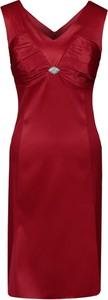 Sukienka Fokus w stylu glamour midi z dekoltem w kształcie litery v
