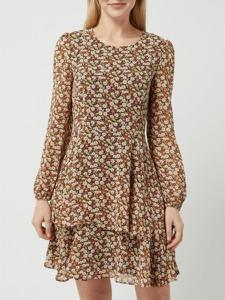 Brązowa sukienka Esprit mini z okrągłym dekoltem