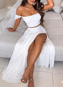 Sukienka Sandbella maxi hiszpanka z odkrytymi ramionami