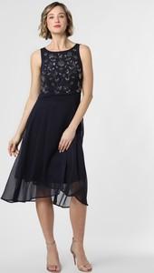 Granatowa sukienka Esprit na ramiączkach z okrągłym dekoltem z szyfonu