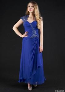 Niebieska sukienka Rokado maxi gorsetowa z dekoltem w kształcie litery v