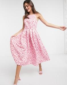 Sukienka True Violet midi z odkrytymi ramionami bez rękawów