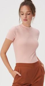 Różowy t-shirt Sinsay z bawełny w stylu casual