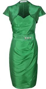 Zielona sukienka Fokus z krótkim rękawem midi