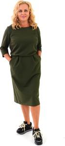 Zielona sukienka Roxana - sukienki z okrągłym dekoltem midi