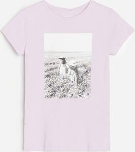 Różowa koszulka dziecięca Reserved z krótkim rękawem dla dziewczynek